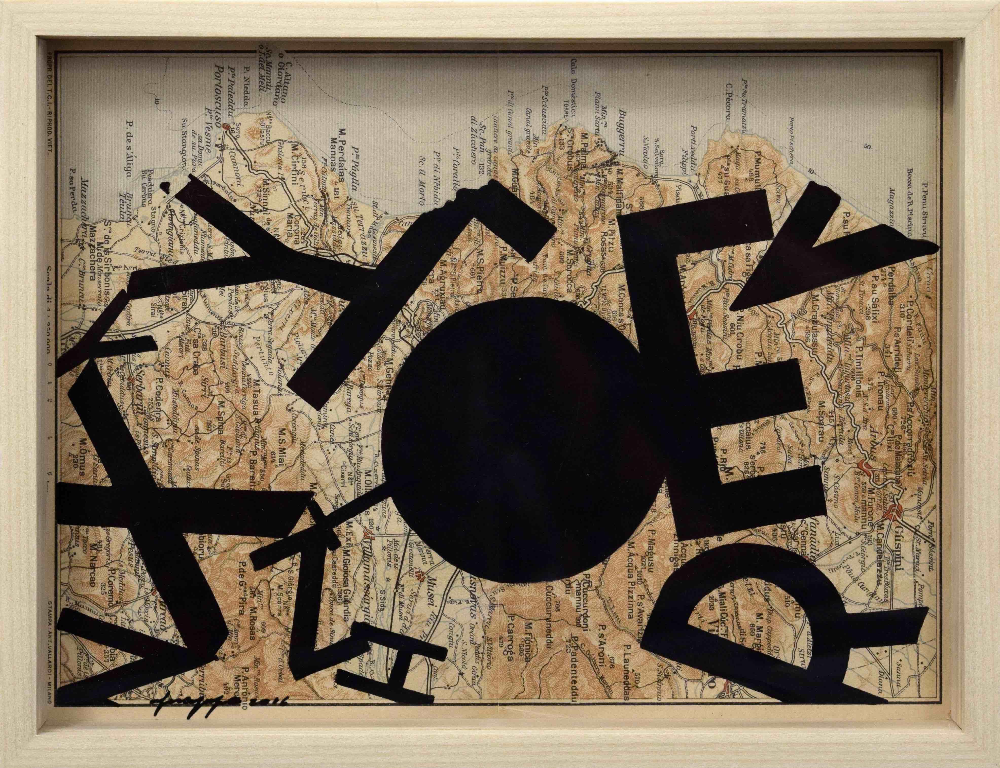 Opiemme, Iglesias, 2016, acrilico su cartina d'epoca, cm 20,5x15,5